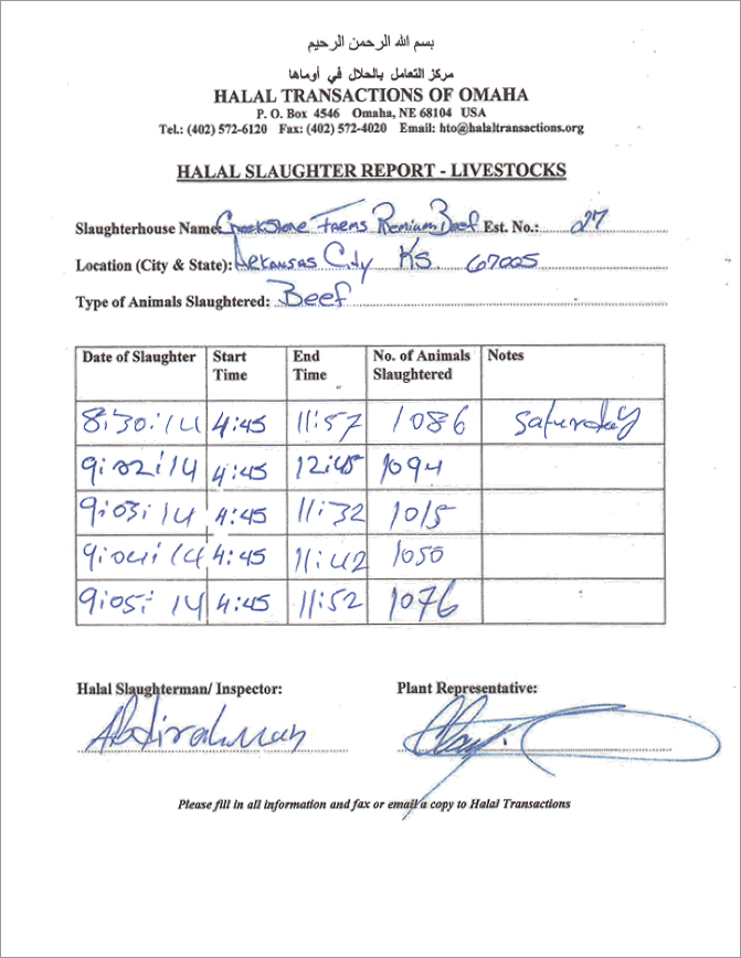 Halal Slaughter Report completed weekly at Creekstone Farms, part of the process of Halal inspection HTO requires at all plants it certifies Halal. [Photo: Halal Transactions Omaha]