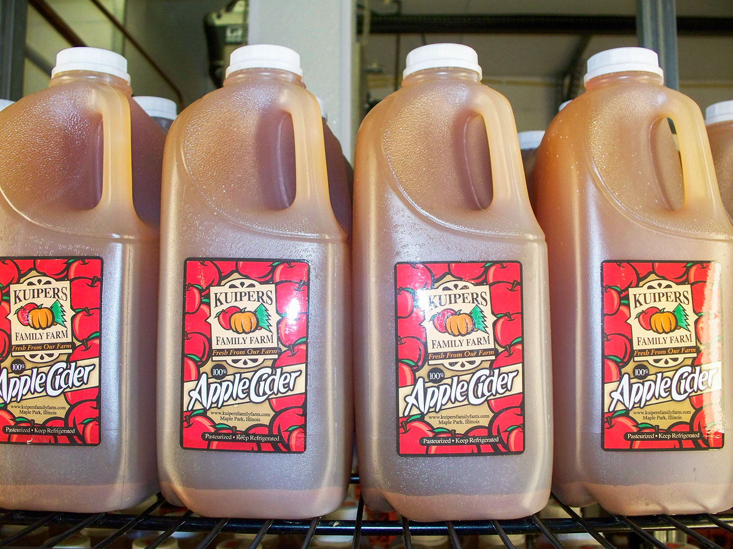 Kept well chilled, cider from a mill will keep for a week in the fridge, but may not last that long in your house. [Photo: Kuipers Family Farm]