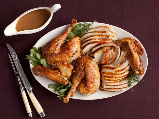 Sliced white turkey meat and whole dark meat. [Photo: Food Network]