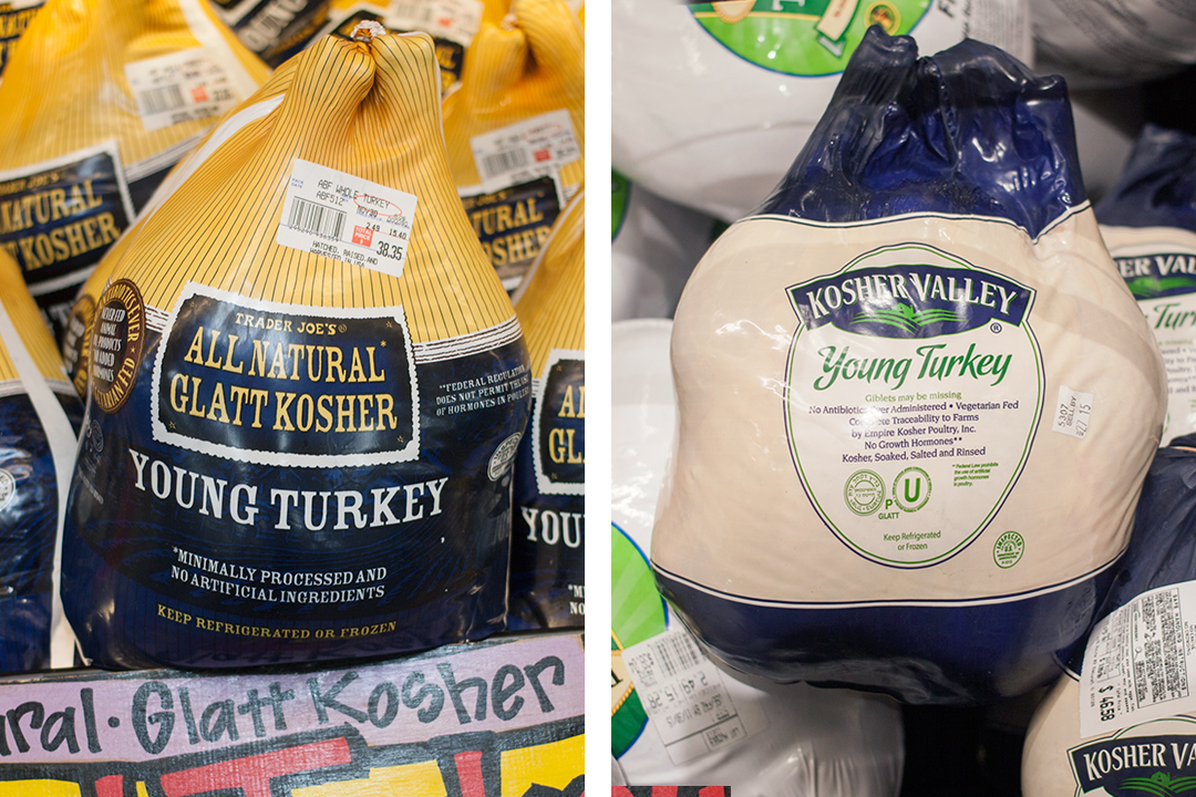 Kosher turkeys at Trader Joe's and Whole Foods [Photo: Saqib Shafi]