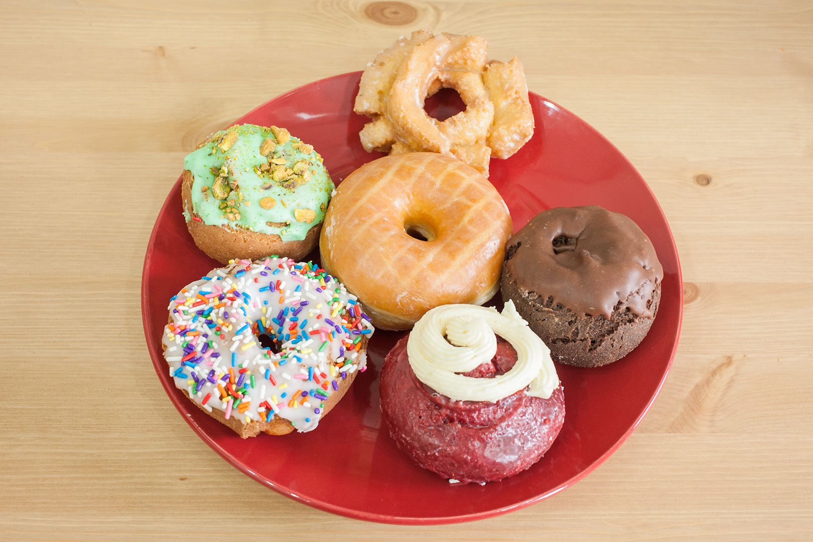 Assortment of lard-free doughnuts from Donut Drop in Schaumburg, IL at Brewpoint Coffee in Elmhurst, IL.